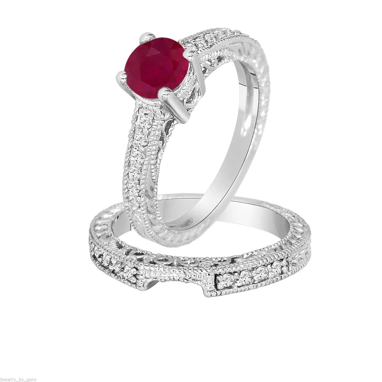 087 Carat Ruby  Diamond Engagement Ring Wedding by