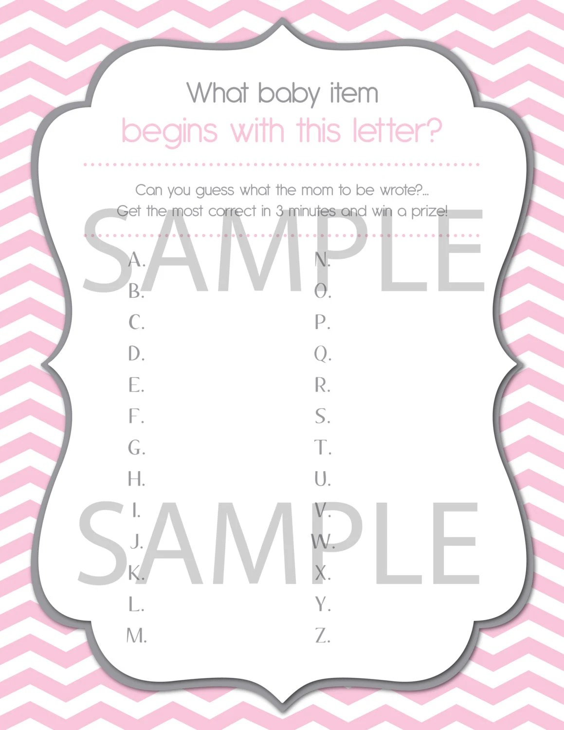 Baby Shower Game Printable A Z Baby Letter By Heatherscreations11