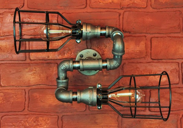 Pipe Lighting With Cages Bend Wall Art Steampunk