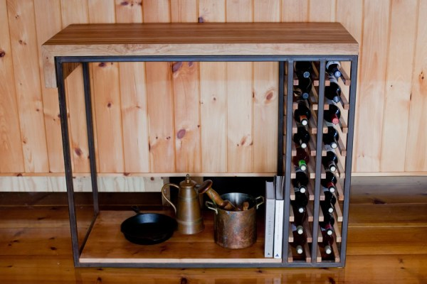 Cherry Butcher Block Kitchen Island Wine Rack