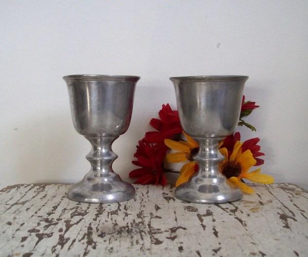Vintage Goblets Rwp Wilton Armetale Pair Pewter Style