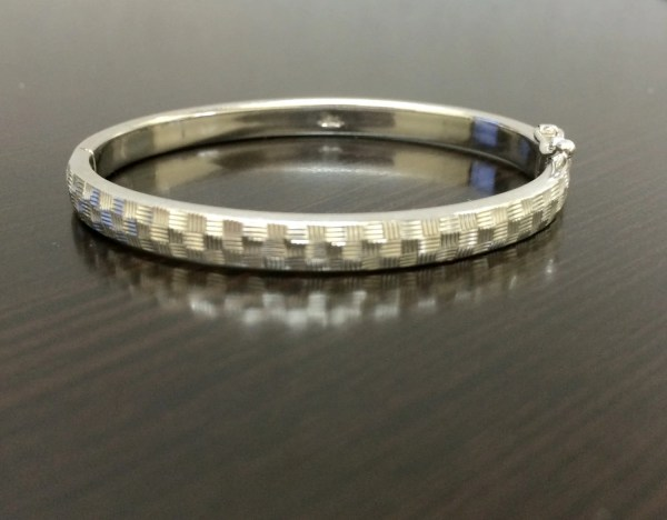 14k White Gold Baby Bangle Bracelet