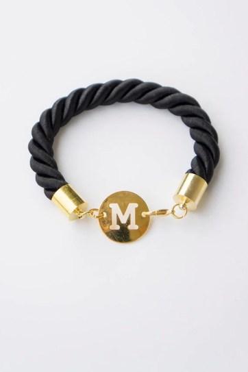 Personalized Bracelet, Initial Bracelet, Personalized Jewelry, Gold Bracelet, Black Rope Bracelet, Custom Bracelet,Monogram Bracelet,For Her