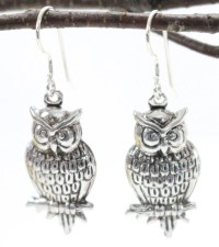 Sterling Silver Owl Earrings Dangles Drops Nature Woodland