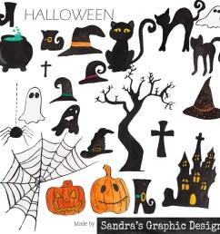 halloween clipart halloween figures with spooky black white and orange halloween clipart 967  [ 1000 x 1000 Pixel ]