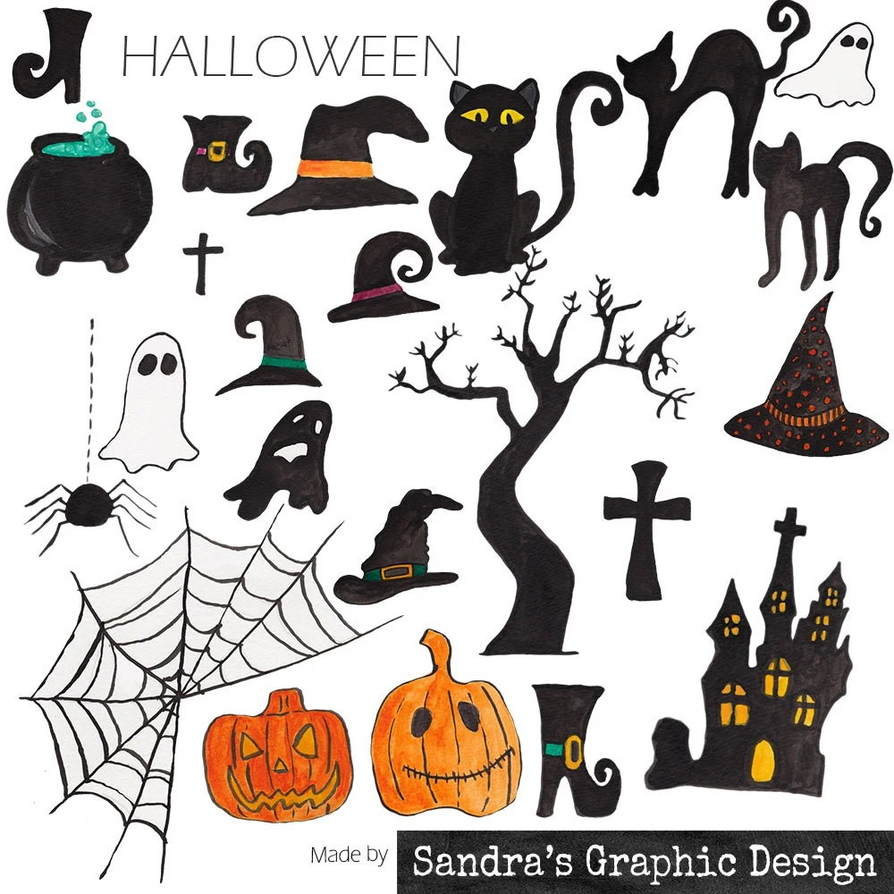 medium resolution of halloween clipart halloween figures with spooky black white and orange halloween clipart 967