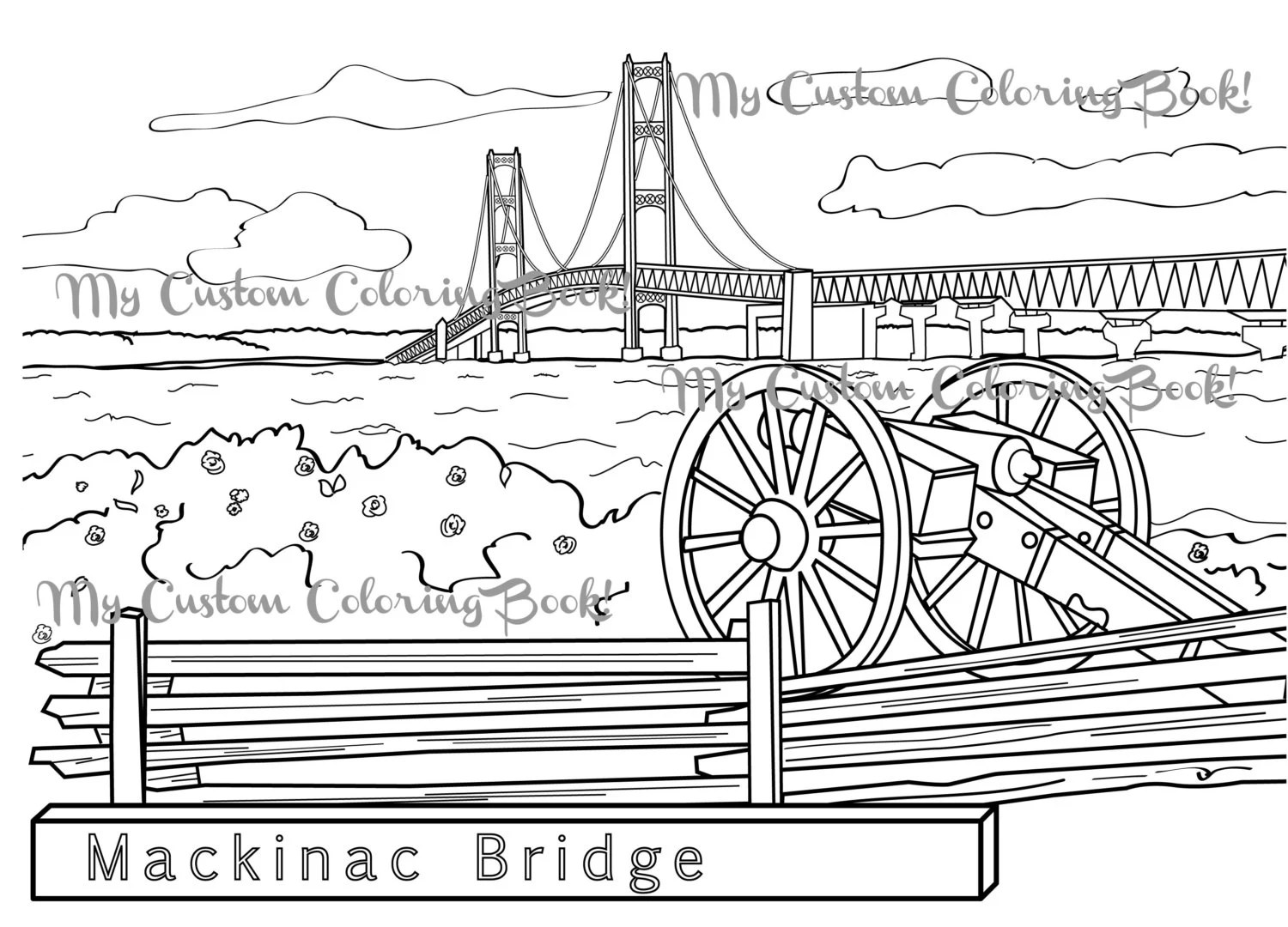 Download Mackinac Bridge Coloring Page