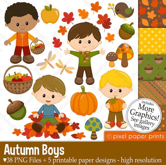 autumn boys - fall clipart clip
