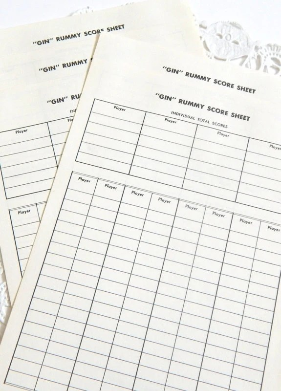 Vintage Gin Rummy Score Sheets. Score Card. Card Games