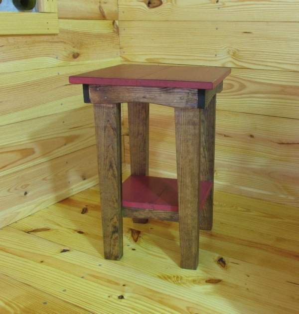 Red Side Table Night Stand Stained End Rustic