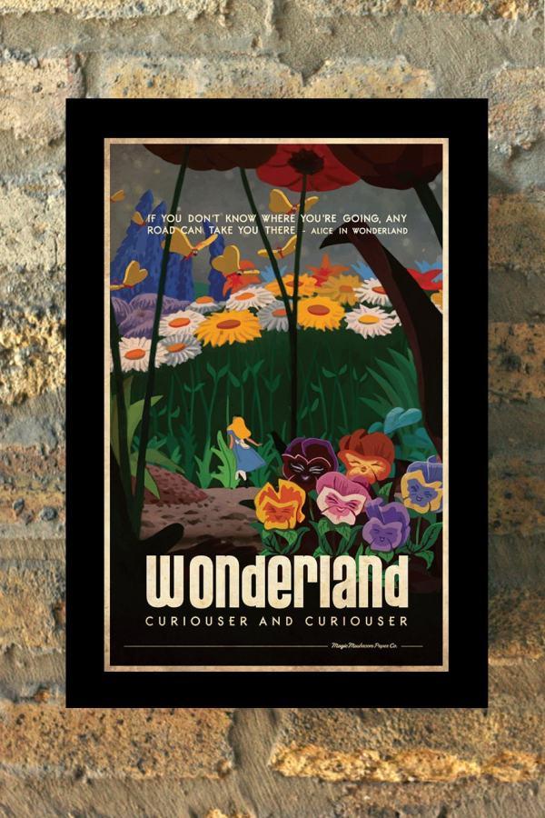 Alice In Wonderland Disney Princess Travel Poster Vintage