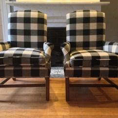 Buffalo Plaid Chair Eames Molded Wood Side Replica Check Arm Chairs