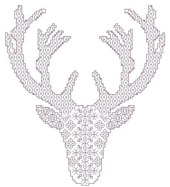 Deer Head Silhouette Stitching Patterns for Blackwork and