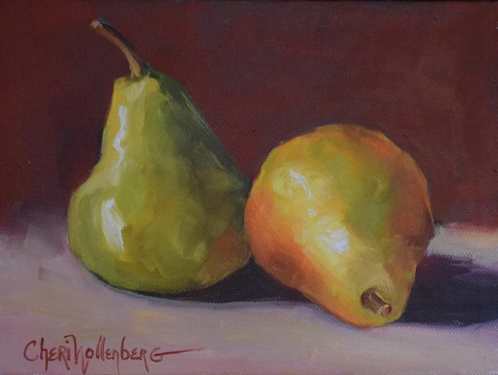 kitchen nook table set islands uk pear still life painting original oil on canvas 6x8 by cheri