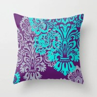 Jewel Tone Damask Pillow Cover Purple and Teal Lavender by ...