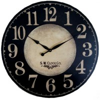 Large Wall Clock 36 inch Port Royal dark black regular