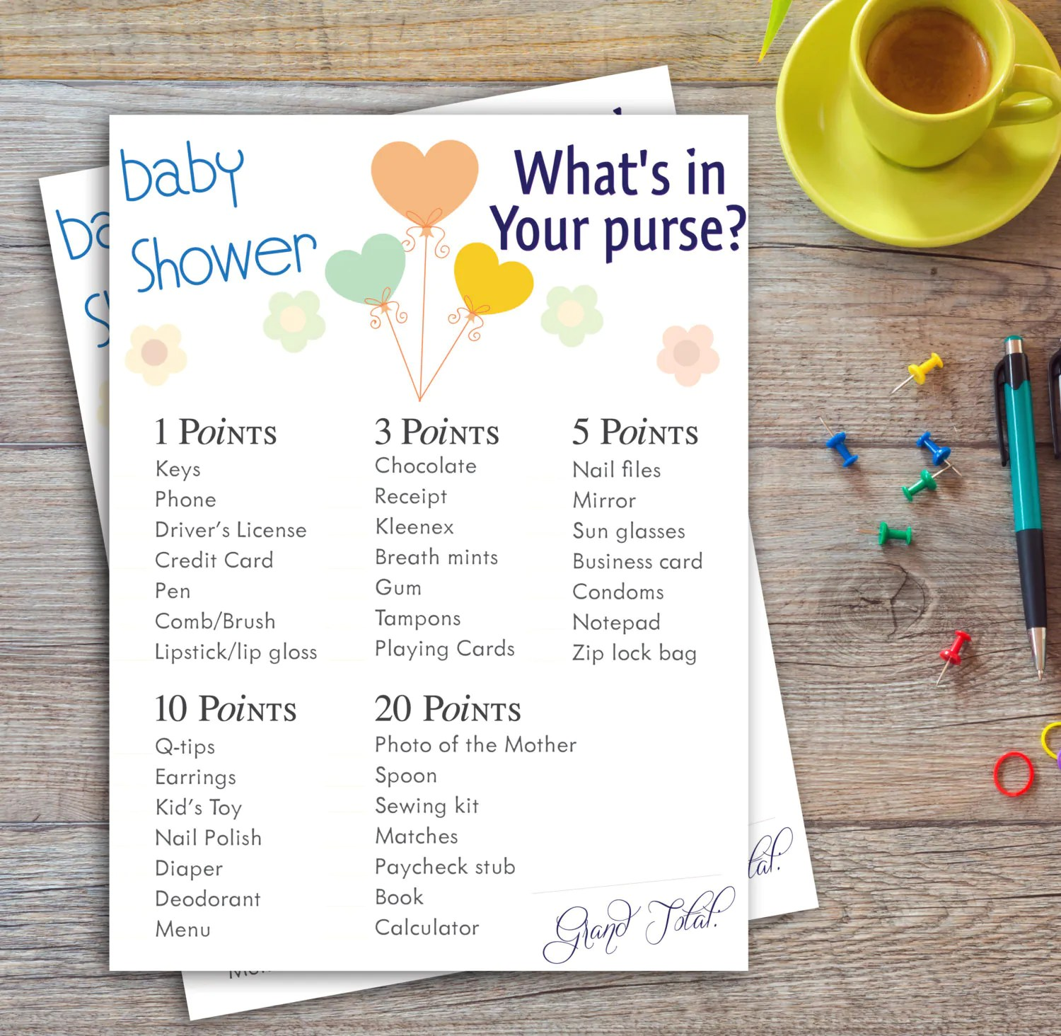 Baby Shower Game Whats In Your Purse Printable By Kaufmanart