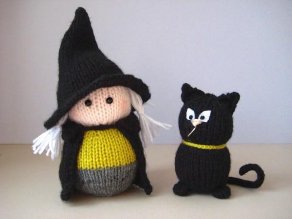 Wanda Witch And Black Cat Toy Knitting Patterns