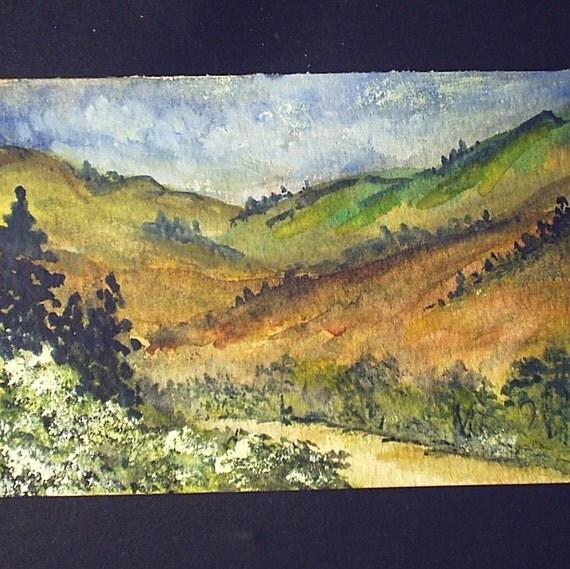 art painting aceo original hillside