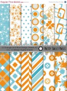 50% OFF SALE 12 Orange & Blue Design Sheets # 2- digital paper pack,Scrapbook sheets,commercial use,scrapbooking papers, instant download.PS
