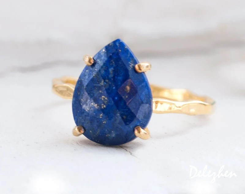 Blue Lapis Lazuli Ring Gold September Birthstone Ring