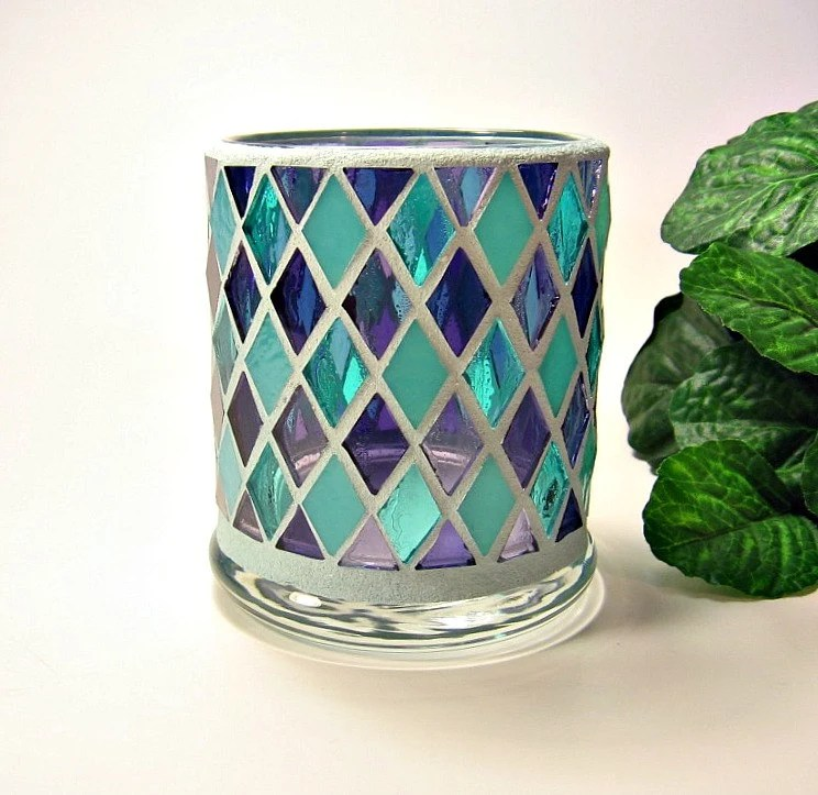 Stained Glass Mosaic Votive Candle Holder Turquoise Purple