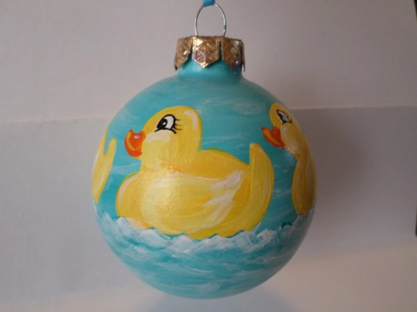 Hand Painted Glass Ornament With Rubber Ducks No62