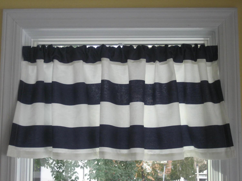 Nautical Horizontal Stripe Curtain Valance Navy Blue And