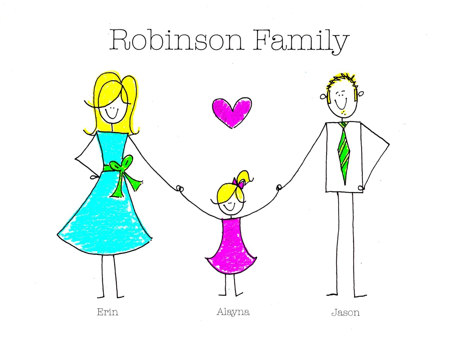 Simple Custom Family Stick Figure Portrait Digital 8x10