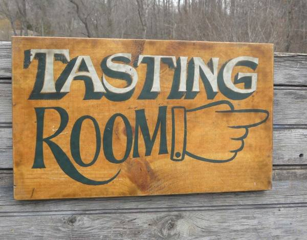 Wine Tasting Sign Wooden Winery Hand Painted Original