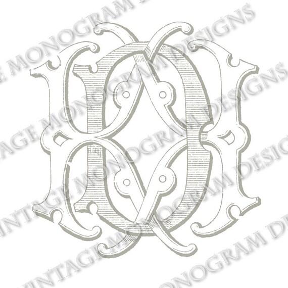 DK monogram or KD monogram vintage monogram by VintageMonogram