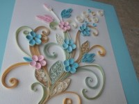 Blue pink flowers wall art Paper filigree Paper quilling art
