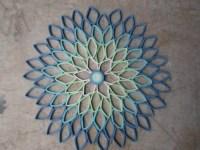 Round wall art Dahlia home decor Paper artwork Blue green