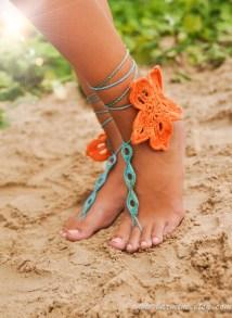 Tropical Flower Crochet Barefoot Sandals Lace Shoes Foot