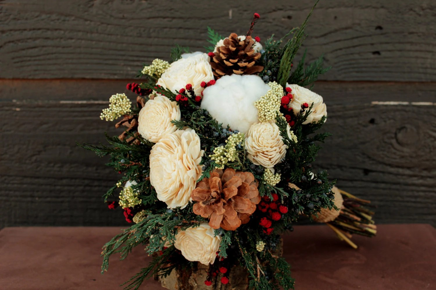 Rustic Winter Wedding Bouquet And Boutonniere Set Winter