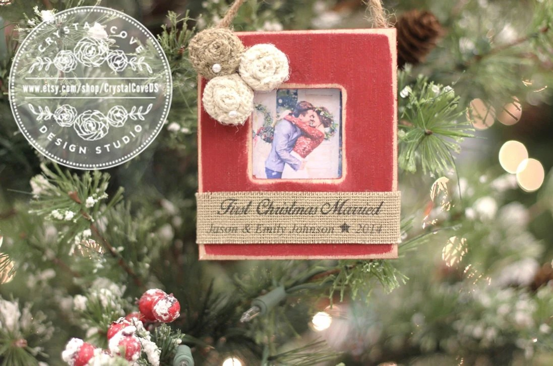 First Christmas MARRIED Wedding Newlywed Christmas Ornament