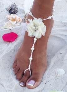 Ivory Bridal Barefoot Sandals Wedding Beach