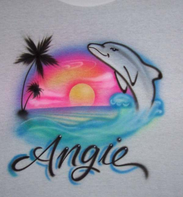 Dolphin Airbrushed T Shirt Beach Scene Personalized