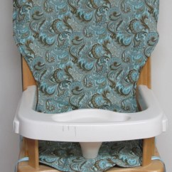 Eddie Bauer High Chairs Electric Recliner Chair Rental Wooden Pad Replacement Cover Blue And