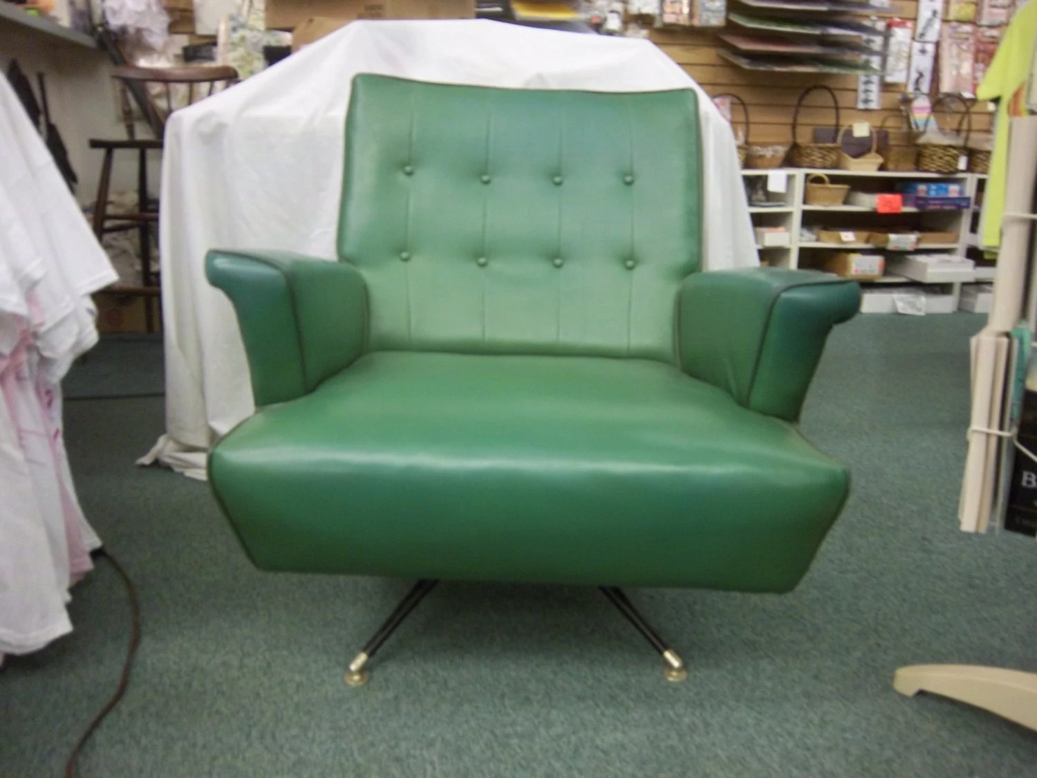 Teal Rocking Chair Vintage Mid Century Modern Gaines Green Teal Vinyl Swivel