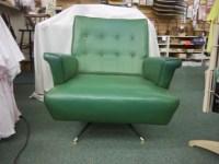 Vintage Mid Century Modern Gaines green teal VINYL Swivel ...