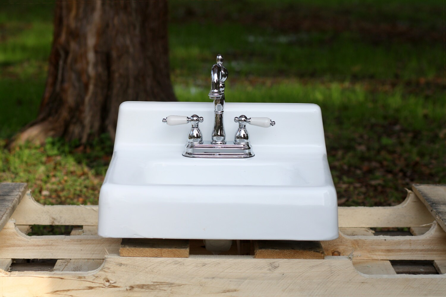 Cast Iron Bathroom Sink Refinished Vintage Mid Century Modern Square Wall Mount
