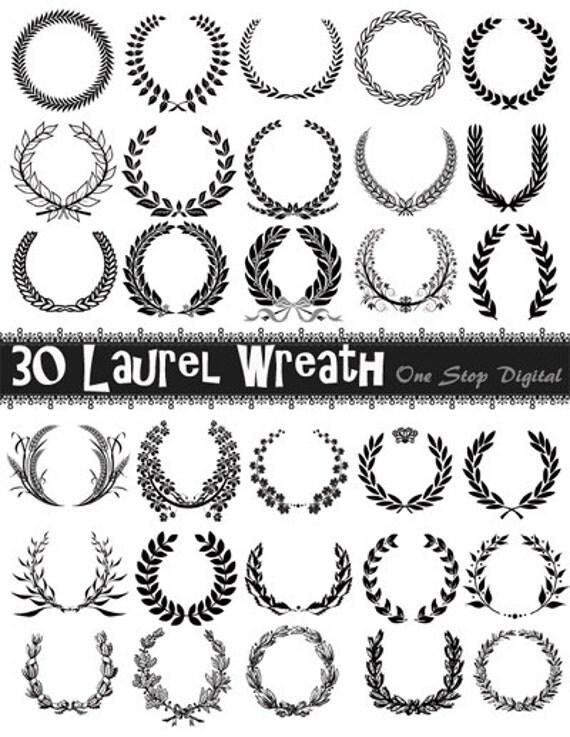 Instant Download 30 Digital Wreath and Laurel Clipart Laurel