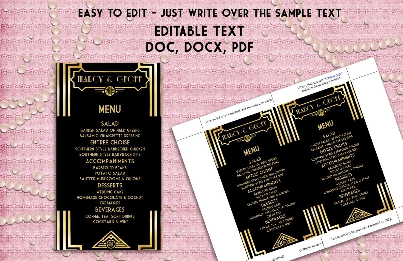 printable menu template  u2013 art deco great gatsby inspired