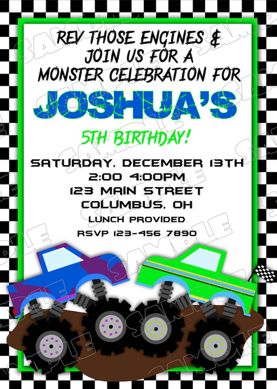 Monster Truck Birthday Party Printable Invites UPrint