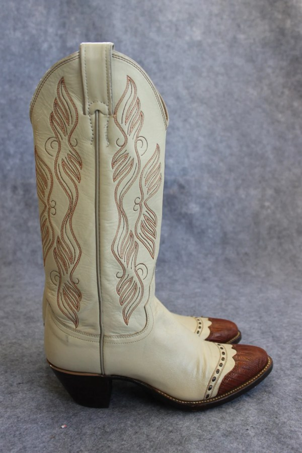 Vintage Justin tall shaft leather and lizard detail cowboy