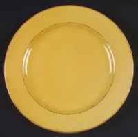 Vintage Pier 1 China Dinner Plate Toscana Gold Pattern Good
