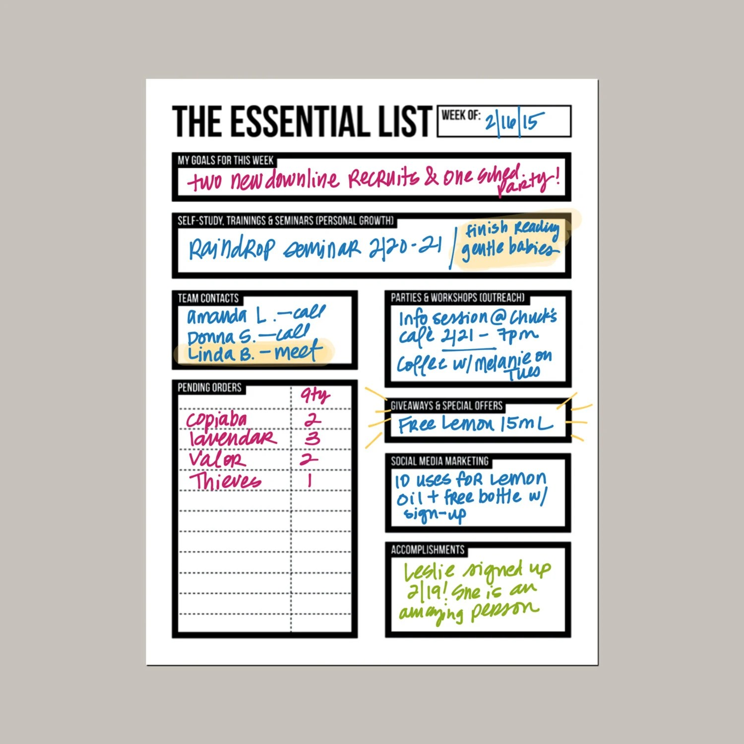 The Essential List Weekly Planning Worksheet For Essential
