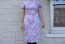 Vintage 50s Purple Floral Rose Print Dress Retro Mid Century