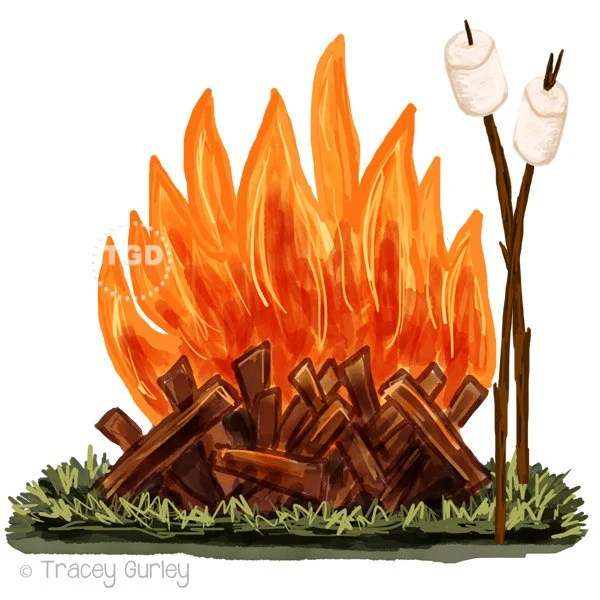 campfire and marshmallow clip art